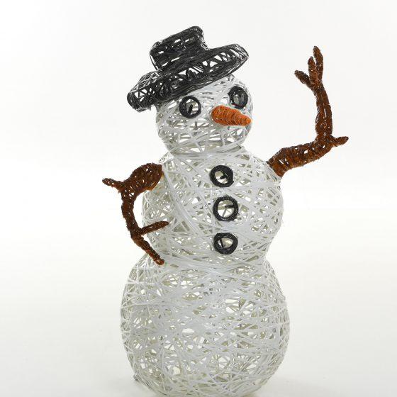 Bonhomme de neige lumineux, structure 3D, fibre minérale