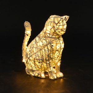 Chat lumineux, structure 3D, fibre minérale, led
