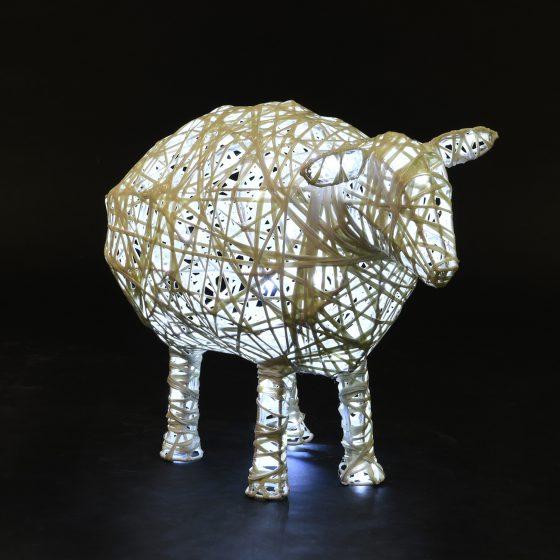 Mouton lumineux 02, structure 3D, fibre minérale, led