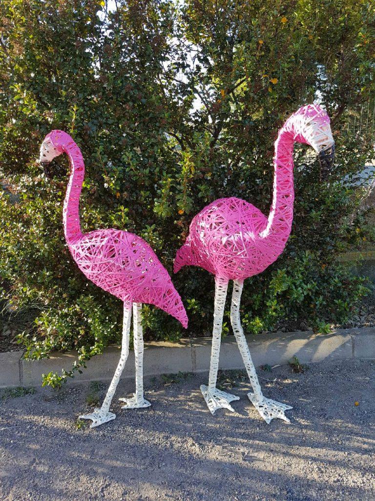 Flamants rose en 3D lumineux tissée en fibre de verre