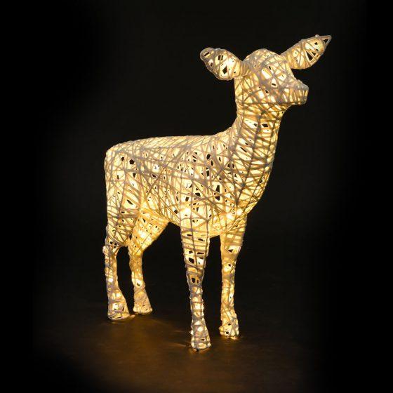 Biche lumineuse, structure 3D, fibre minérale, led