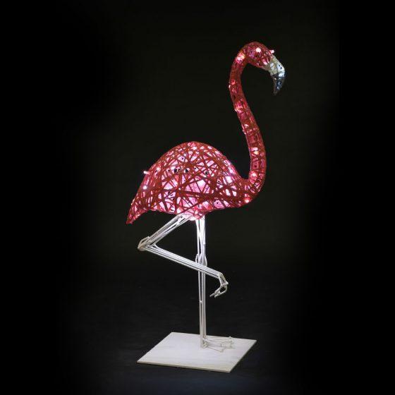 Flamant rose lumineux, structure 3D, fibre minérale, led