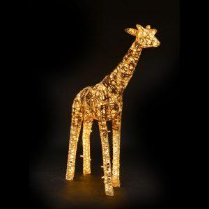 Girafe lumineuse, structure 3D, fibre minérale, led