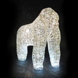 Gorille lumineux, structure 3D, fibre minérale, led
