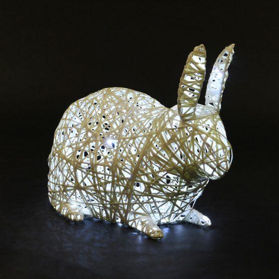 Lapin 02 lumineux, structure 3D, fibre minérale, led