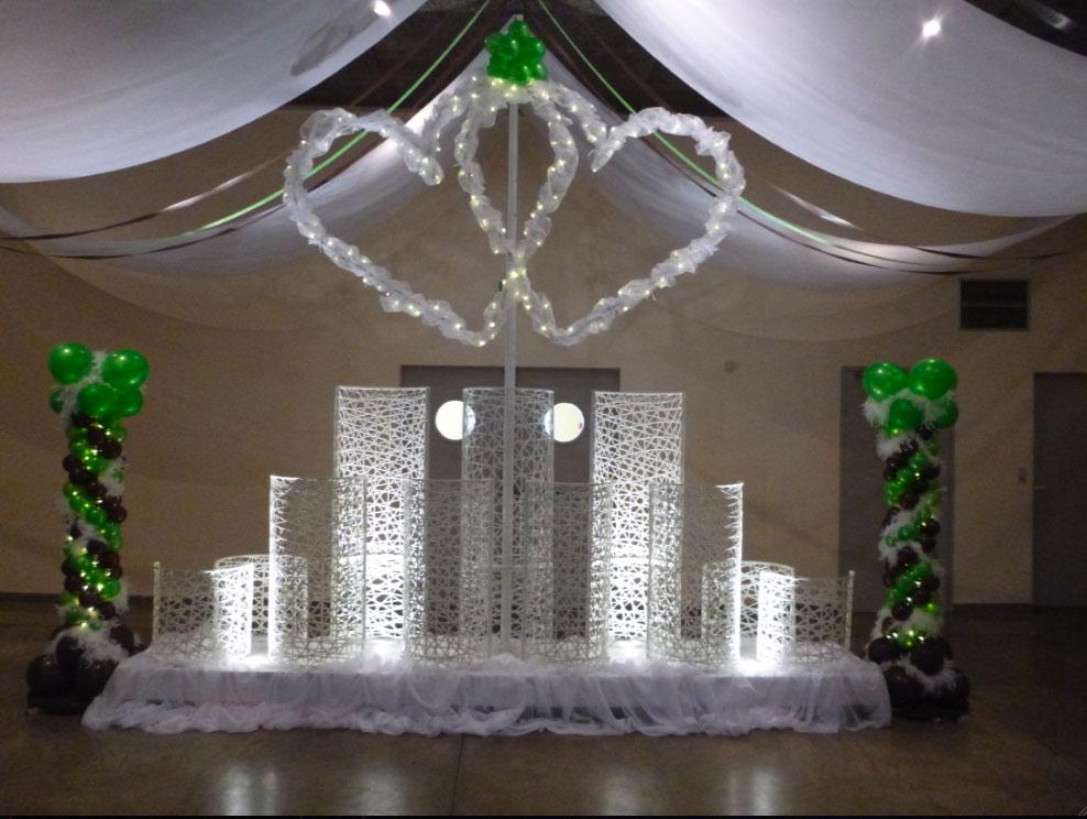 Décoration de mariage, composition décorative mariage lumineuse tissée en fibre de verre - location décoration lumineuse mariages