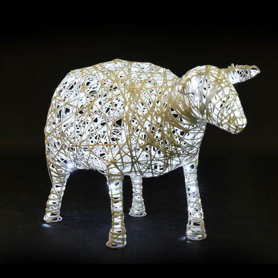 Mouton lumineux, structure 3D, fibre minérale, led