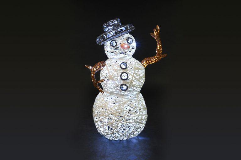 Bonhomme de neige 3D, illumination de noël tissée en fibre minérale