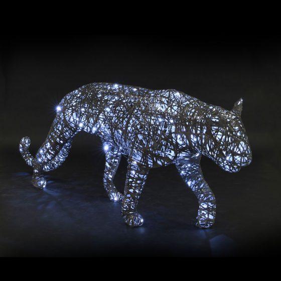 Panthère lumineuse, structure 3D, fibre minérale, led