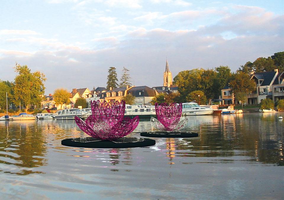 Décoration pour collectivité, fleurs flottantes en fibre de verre tissée