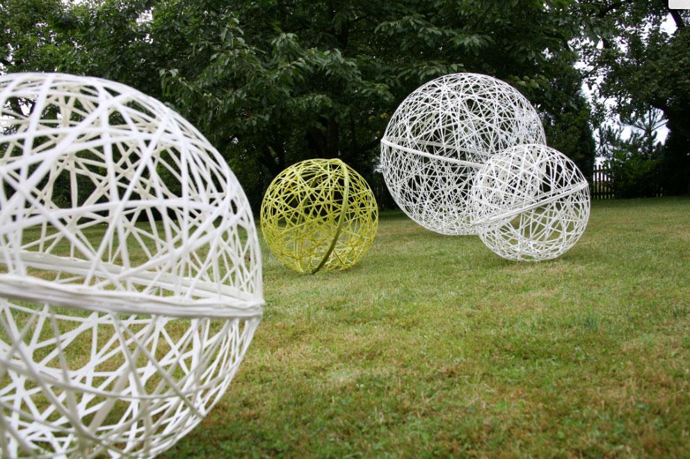 Décoration, sphères 3d tissée en fibre de verre