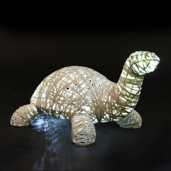 Tortue lumineuse, structure 3D, fibre minérale, led